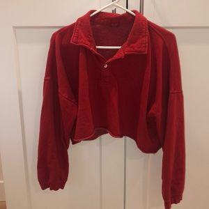 brandy melville oversize crop collared sweatshirt